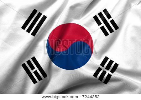 Realistic 3D flag of South Korea with satin fabric texture. poster