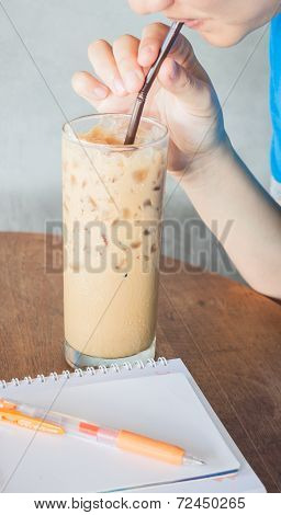 Woman Having Chill Time Of Drinking Coffee
