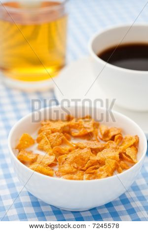Breakfast Cereal With Milk, Coffee And  Juice