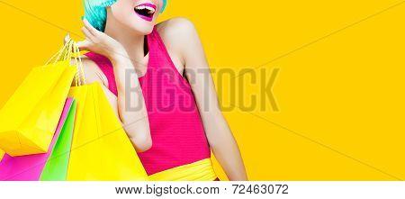 crazy fashion shopping girl
