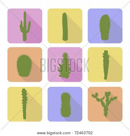 Stock vector set of cactus icons.