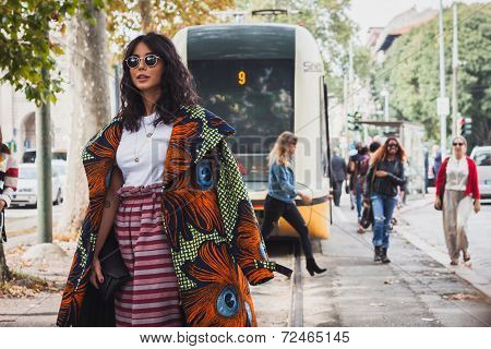 Woman Posing Outside Gucci Fashion Shows Building For Milan Women's Fashion Week 2014