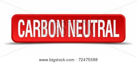 Carbon Neutral Red Three-dimensional Square Button Isolated On White Background