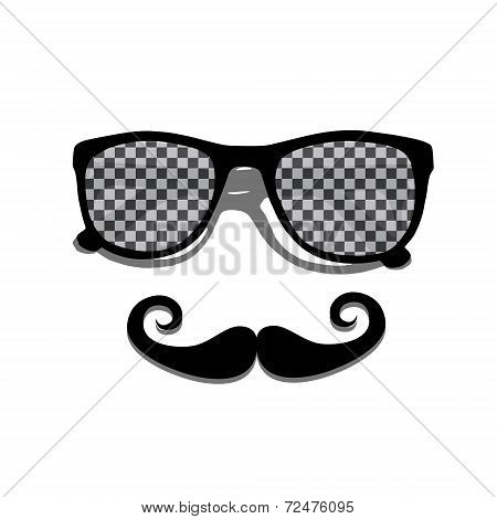 Mustache and retro pattern shades