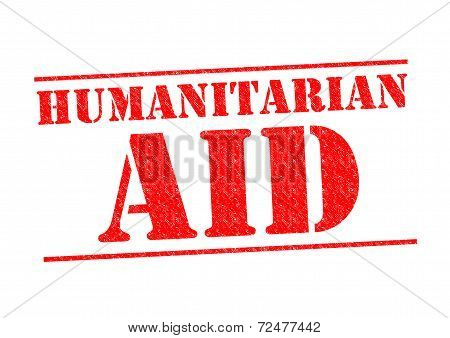HUMANITARIAN AID red Rubber Stamp over a white background. poster