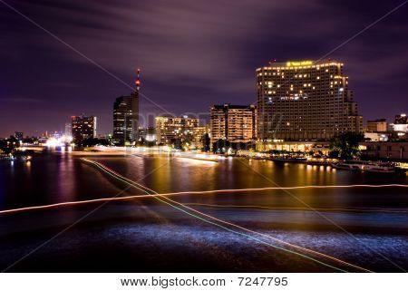 Choa Phraya river at night