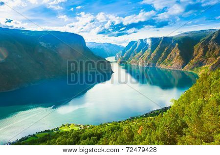 Norway Nature Fjord Summer Sognefjord. Sunny Day Landscape With Mountain Pure Water Lake Pond Sea poster