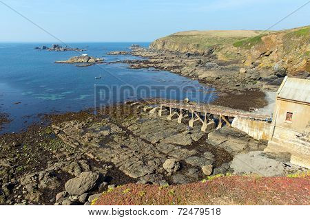 Lizard peninsula Cornwall England UK south of Falmouth and Penryn with disused RNLI lifeboat house