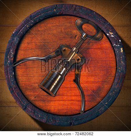 Corkscrew And Wooden Barrel