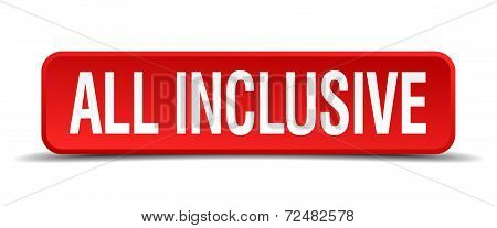 All Inclusive Red Three-dimensional Square Button Isolated On White Background
