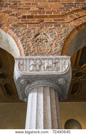Capitals Of The Columns In The Hall