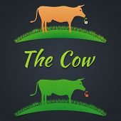 Label cow on the lawn on a gray background poster