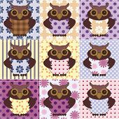 patchwork background with nice owls vector illustration poster