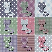 patchwork background with scrapbook cats vector illustration poster