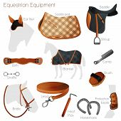 Set of equestrian equipment for horse. Saddle, bridle, Stirrup, Girth, Snaffle ,  Lead, Protection boots, Horseshoes, Blanket, Ear Net, Saddle pad, etc. poster