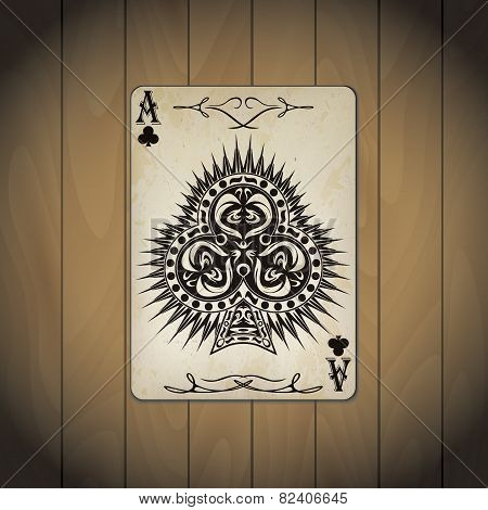 Ace of clubs poker cards old look varnished wood background. poster