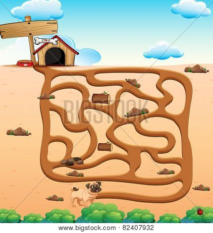 Illustration of a puzzle game with dog and a house