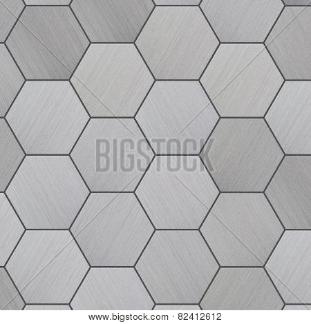 Hexagonal brushed aluminum tiles as a background poster