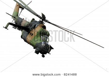 Military helicopter up in the air in action poster