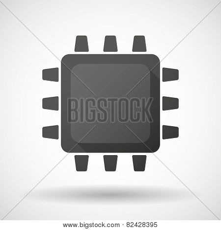 Illustration of an isolated black CPU icon poster