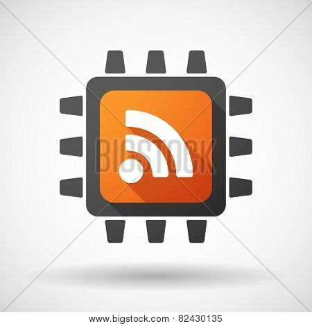 Illustration of a CPU icon with a RSS feed dign poster