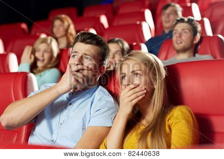 cinema, entertainment and people concept - happy friends watching horror, drama or thriller movie in theater poster