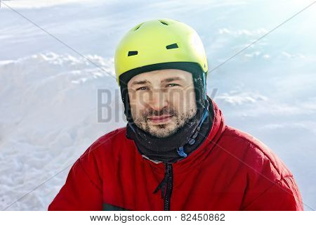 Young Sporty Man In A Helmet In Winter
