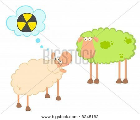 cartoon sick sheep looks with poisonous spots on the wool poster