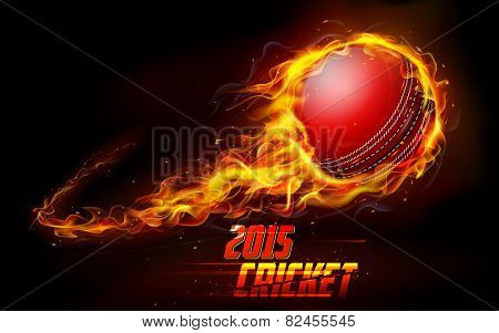 illustration of fiery cricket ball in abstract background