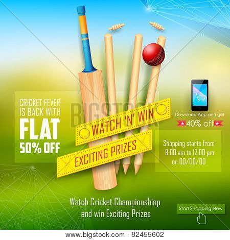 illustration of sale and promotion banner for cricket season poster
