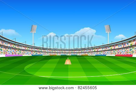 illustration of stadium of cricket with pitch