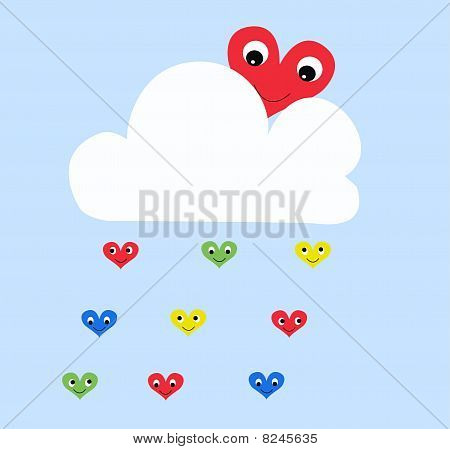 heart and cloud pattern