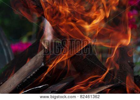 lit a small fire