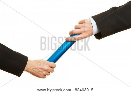 Two hands passing a blue relay baton
