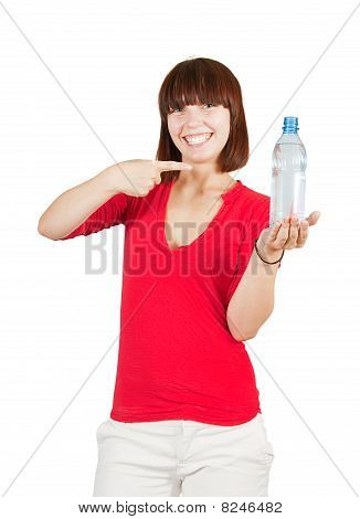 Smiling Sport Girl With Water