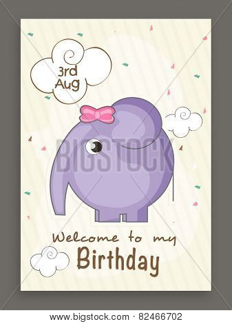 3rd august, Welcome to my Birthday invitation card design with cute elephant.