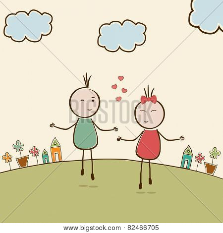 Happy Valentine's Day celebration with cute kiddish cartoon couple in love on nature view background.