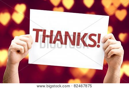 Thanks! card with heart bokeh background