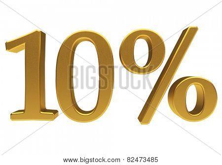 Gold ten percent off. Discount 10. 3D illustration