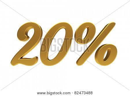 20 percent off. Discount 20. 3D illustration