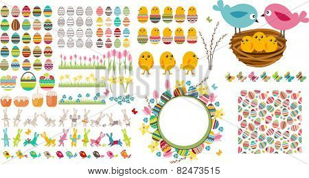 Big easter set with collection of eggs,seamless pattern, spring flowers, nest and birds