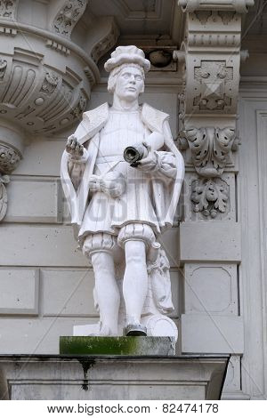 GRAZ, AUSTRIA - JANUARY 10, 2015: Statue of Art, allegorical representation, detail of Rathaus Town Hall, Graz, Styria, Austria on January 10, 2015.
