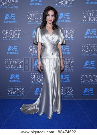 LOS ANGELES - JAN 16:  Angelina Jolie arrives to the Critics' Choice Awards 2015  on January 16, 2015 in Hollywood, CA