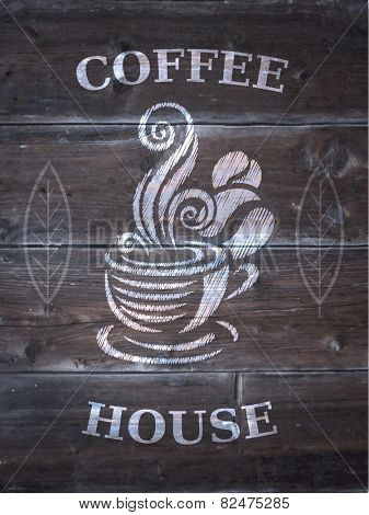 Vintage wood background with cup of coffee. Vector.