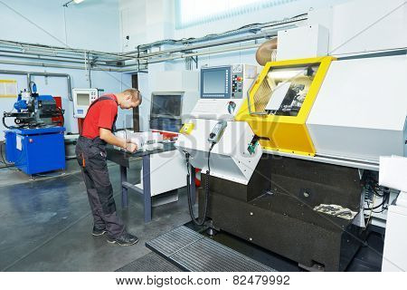 manufacture technician worker at factory metal machining shop poster