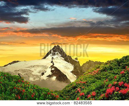 Grossglockner in the sunset, National Park Hohe Tauern, Austria poster
