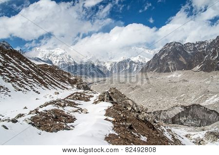 Himalayas. Ngozumba Glacier in Sagarmatha National Park, Nepal poster