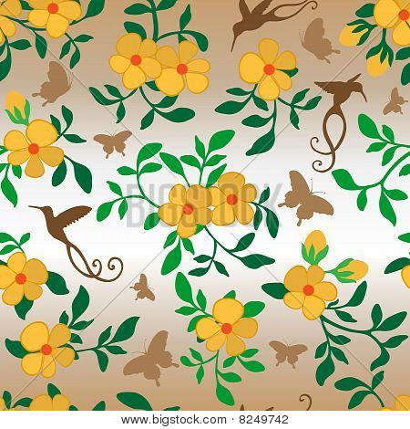 Flowers Hummingbirds Butterflies Seamless Wallpaper