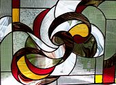 multi color stained glass abstract window panel poster