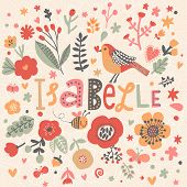 Bright card with beautiful name Isabelle in poppy flowers, bees and butterflies. Awesome female name design in bright colors. Tremendous vector background for fabulous designs poster